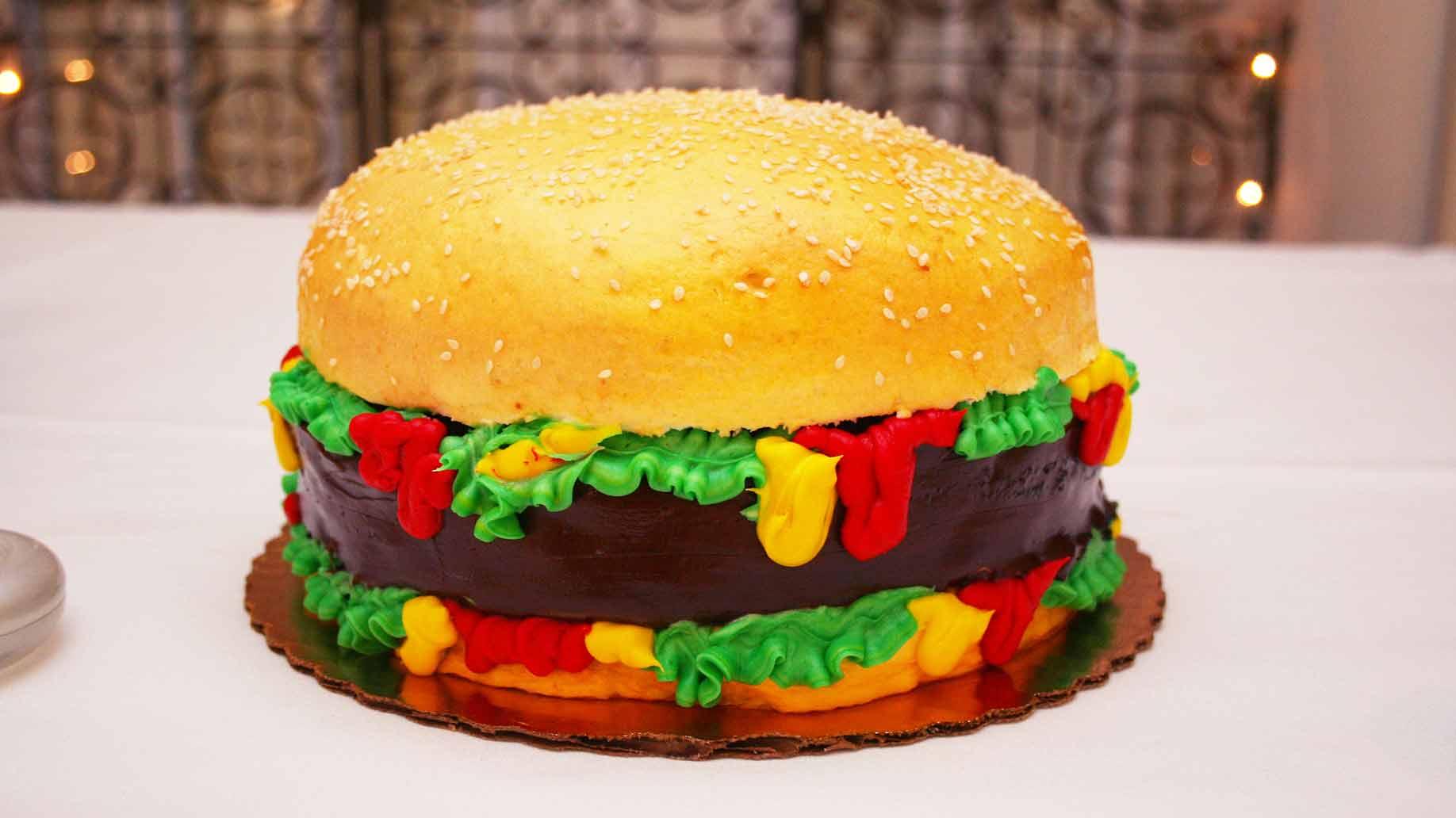 grooms cake wedding hamburger