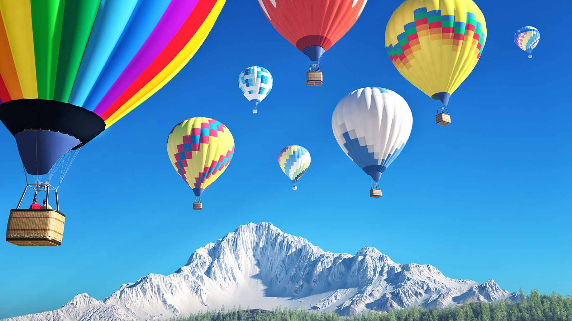 hot air balloon ride in the mountains