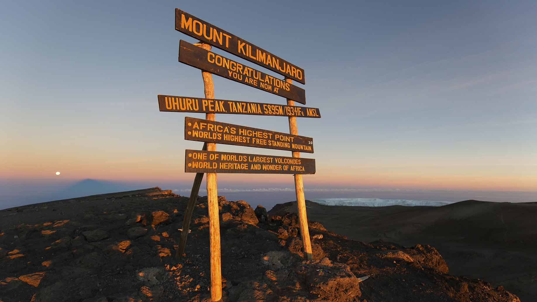 mount kilimanjaro summit sign
